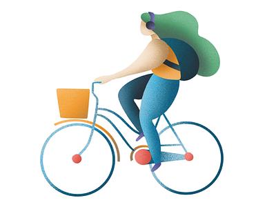 Girl Bike bike design characters character vector illustration
