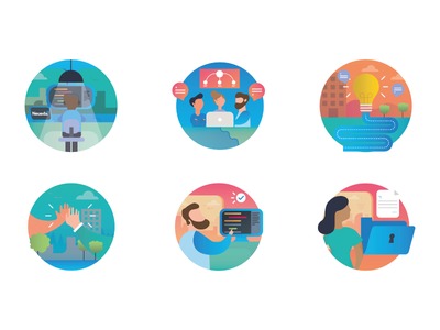 IT icons ux character branding gradient ui icons team design characters vector icon illustration