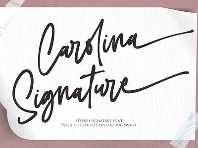 Carolina Signature logo illustrator illustration vector typography lettering icon font design branding