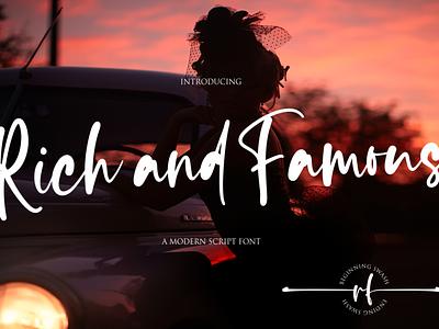 Rich and Famous website minimal logo illustrator illustration vector typography lettering icon font design branding