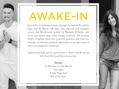 Indigo Flyer photography black and white awake breathwork yoga type flyer
