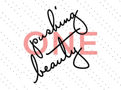 Pushing Beauty Essential Oil Label Design chakra black pink lettering opacity dots essential oil label