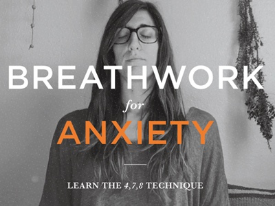 Graphic Treatment Breathwork for Anxiety black and white orange sans serif serif gotham 478 anxiety breathwork