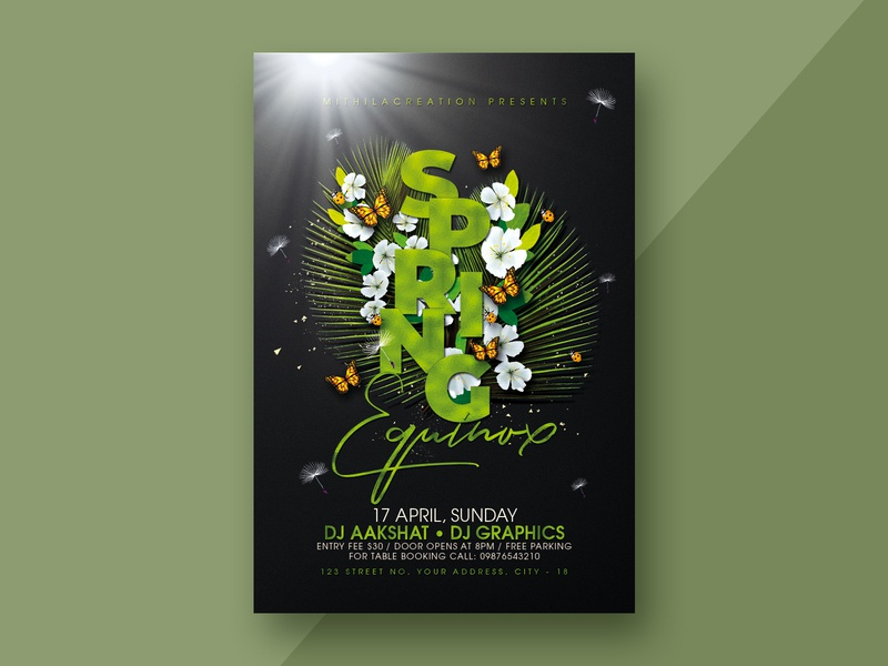 Spring Party Flyer design celebration club flyer template flyer design flyer club flyer summer flyer summer party summer spring party flyer spring party spring