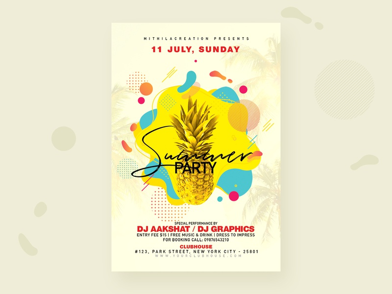 Summer Party Flyer club celebration club flyer flyer template flyer design flyer spring break springtime spring summer camp summer party eve summer party flyer summertime summer flyer summer party summer
