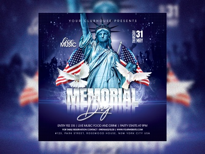 Memorial Day poster design clubhouse club club flyer flyer design flyer summer spring 4th of july 4thofjuly 4th july usa flag usa memorial day party memorial day flyer memorial service program memorial service memorial day memorialday memorial