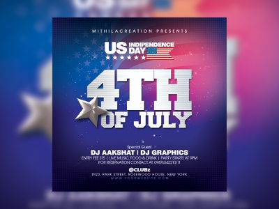 4th Of July Flyer american america usa flag usa independence independence day 4tjuly 4thofjuly 4th july 4th of july summer spring club flyer template club flyer flyer design flyer graphic design