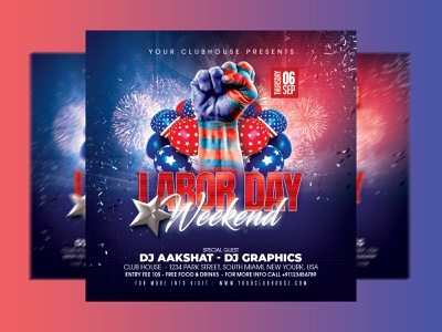 Labor Day Flyer summer club flyer club flyer design flyer usa flag independence day independence american flag america usa weekend holiday 4th of july labor day flyer happy labor day labor day weekend laborday labor day labor
