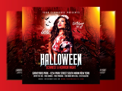 Halloween Flyer graphic design design flyer template club flyer flyer design flyer club night advertising print holiday event party club zombie pumpking skull scary spooky halloween time halloween