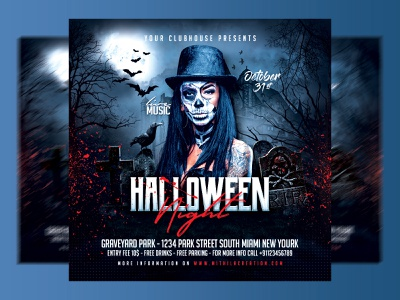 Halloween Flyer horror party spooky night holiday branding graphic design flyer template flyer design club party trick and treat facebook banner social media post print file psd flyer party night instagram event pumpkin skull halloween night halloween
