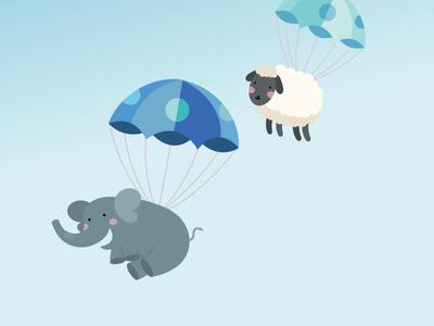 Floating Fuzzies blue happy simple flat floating parachute sheep elephant baby cute illustration