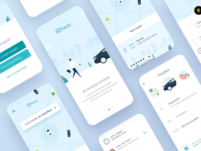 UI Screens Mobility App blue ui car illustration app design app mobility train user interface design idean ux design ui design ux user experience user interface ui screen ui