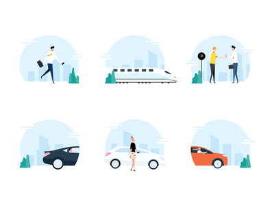 Illustration Set Mobility App cars train character illustration characterdesign blue illustration digital mobility design app design design app iconography icons illustration design illustration set illustrations illustration