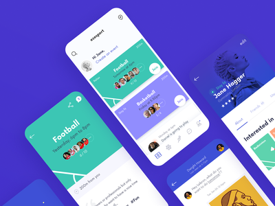 Sport Mobile App UI Screens clean design ui screens blue sport sketch branding interaction interface illustration ux app idean user interface design ui