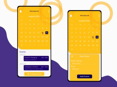 Monserrat calendar app inspred weekly challenge appdesign mobile ui calenderui ui ux montserrat calender