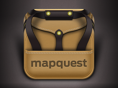 MapQuest Travel Blogs Icon icon bag duffle briefcase filson skeuomorphism leather canvas mapquest travel blogs iphone