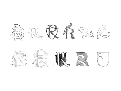 R / RS monogram logo sketches