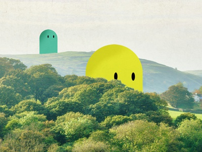 Over the Hill monsters cragum illustration character hills tree mixed media