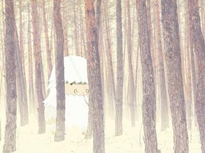 In The Woods cragum snow yeti illustration trees monster