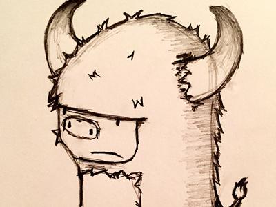 Little Bully  pencil creature horns sketch doodle animal bull