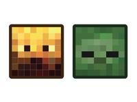 Minecraft Mob Badges - Blaze & Zombie