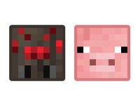 Minecraft Mob Badges - Spider & Pig