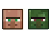 Minecraft Mob Badges - Villager & Zombie Villager