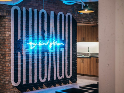 My Kind Of Town typography tech startup painting sign neon lettering hand chicago