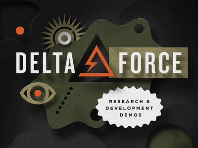 Delta Force cut paper depth shadow dimension blob eye delta demo research layering