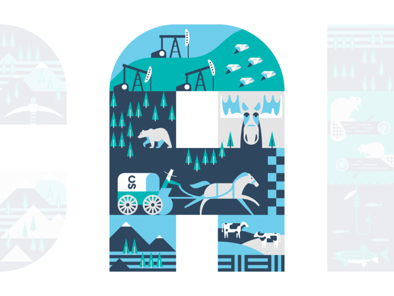 Uptake Canada Mural northwest territories alberta canada vector covered wagon cowboy horse race hills forest bear diamonds mountains cows moose carriage horse calgary stampede oil derrick illustration
