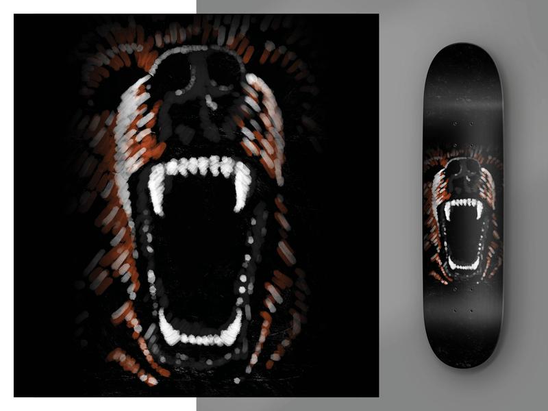 Uptake Skateboards digital painting illustration procreate skateboard bear