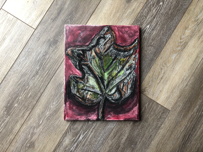 Charcoal & Watercolor Leaf