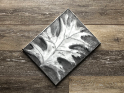 Charcoal Leaf on Canvas leaf canvas cotton ball charcoal
