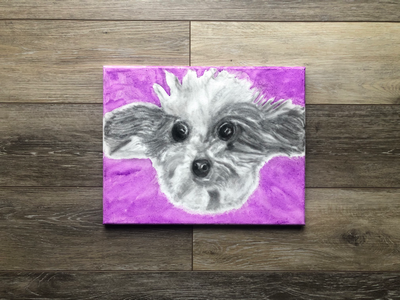 Charcoal and Watercolor Dog on Canvas watercolor charcoal canvas art dog