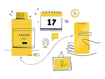 App Illustartions product design line icons sketch hand drawn procreate icons illustration ui