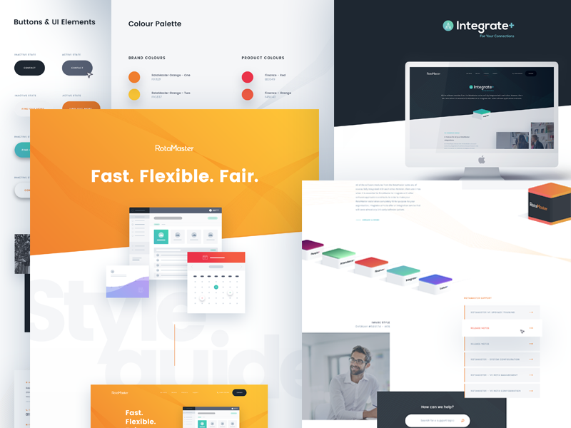 RotaMaster Digital Styleguide ux ui text styleguide style interface guidelines guide flat product colour clean