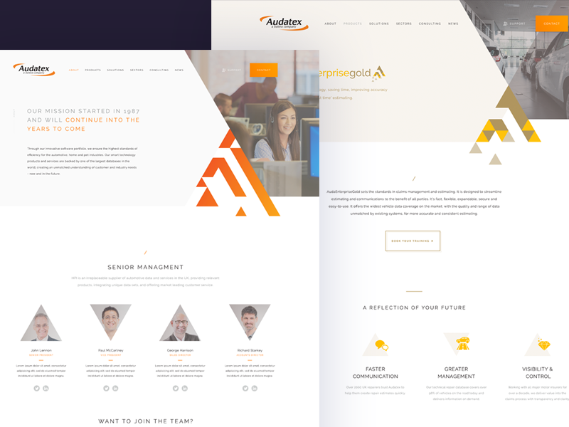 About page UI web ux ui text style interface homepage flat design colour clean car