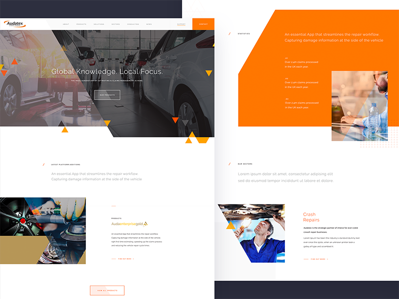 Automotive UI navigation ux ui search product interface flat landing colour clean homepage buttons