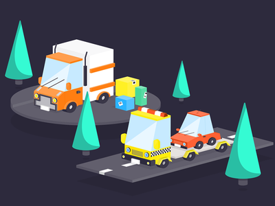 Isometric car ux ui search product navigation landing isometric interface illustration homepage flat car