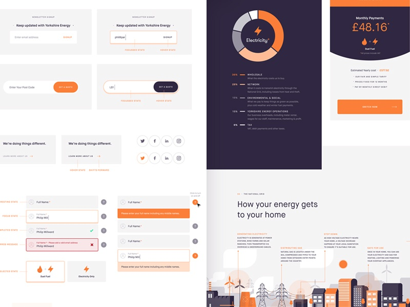 Energy Company Styleguide ux ui search product navigation landing isometric interface illustration homepage flat clean