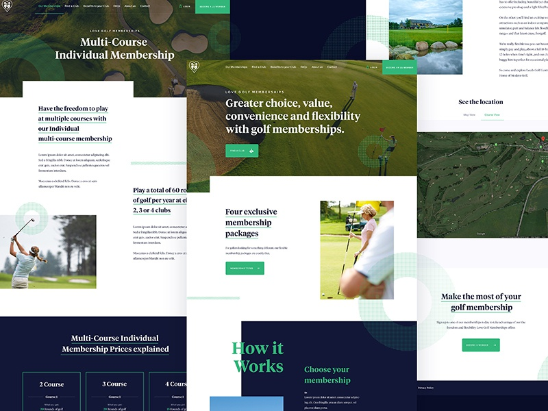 Golf UI Pages golf ui search product navigation landing isometric interface illustration homepage flat clean