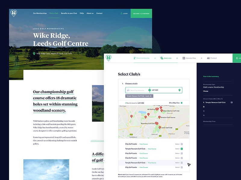 Golf UI Pages clean flat homepage illustration interface isometric landing navigation product search ui golf