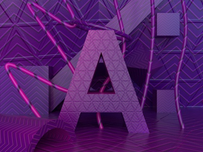 A | Adobe Dimension pink purple pattern abstract letter a 36daysoftype 3d art 3d adobe dimension typography clean vector design