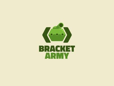 Bracket Army logo logo tank icon branding coding development company code bracket army corporate identity