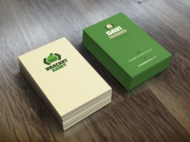 Bracket Army business card mockup tank icon branding development company bracket army corporate identity business card
