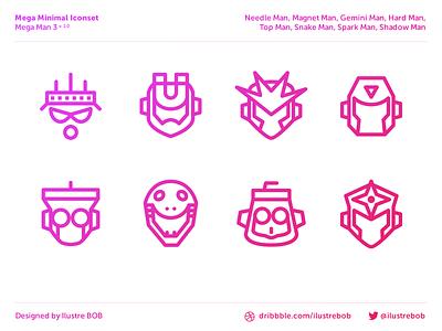 """Mega Man 3"" Mega Minimal Iconset — Free PSD file mega man vector resource free download psd illustrator photoshop freebie iconset icon"