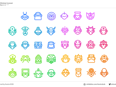 """Mega Man 1-5"" Mega Minimal Iconset Part 1 mega man vector nes game robot boss iconset icon"