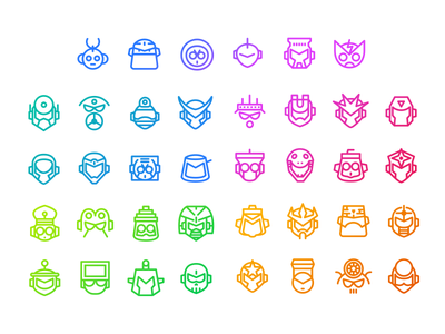 """Mega Man 1-5"" Mega Minimal Iconset Part 1 mega man vector nes game robot boss iconset icon"