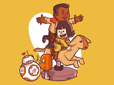The Last Jedi: Rose, Finn & BB-8 in falthier ride episode 8 the last jedi falthier ride cute illustration bb8 rose finn movie star wars