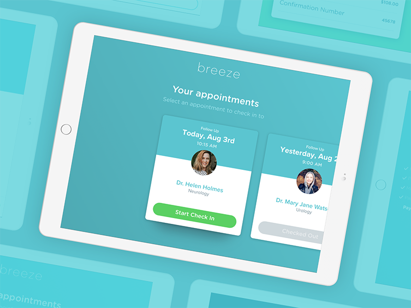CareCloud's Breeze practice app: Appointments section carecloud breeze ipad ios practice app patient doctor health queue ehr appointments